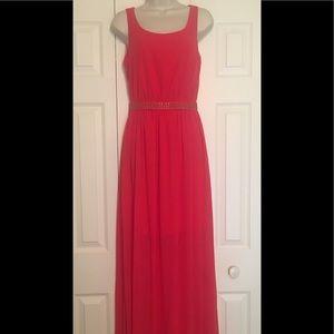 Jessica Simpson Red Maxi Chiffon Dress Size S